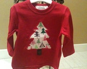 Red shirt with MODERN Christmas Tree applique, sizes 12 and 18 Months