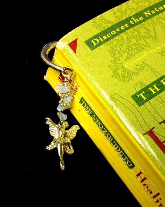 Fairy Rainbow Moonstone Feather Bookmark