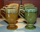 Vintage Avacado Green and Gold Irish Coffee Mugs