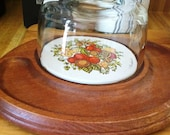 Vintage 1970's Collectible Goodwood Spice of Life Dome Glass Serving Platter