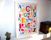 English Alphabet, decor wall, nursery art print, baby nursery decor - Number 1 Different