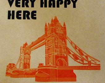 Happy London, London Illustration, Tower Bridge, Print london, Cityscape Art