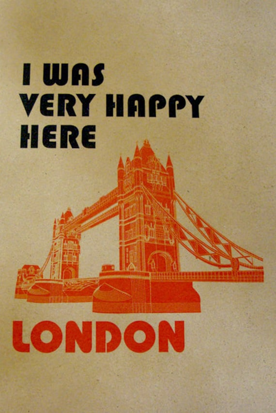 Happy London, London Illustration, Tower Bridge, Print london, Cityscape Art