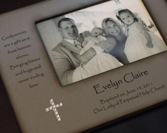Baptism Christening Photo Frame - Personalized Gift for Godparents - Baptism Gift for Godparents