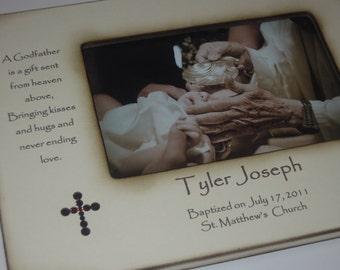 Godparents Baptism Christening Photo Frame - Personalized Gift - Keepsake for Godparents- Baptism Gift for Godparents