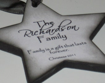 Personalized Family Christmas Ornament - Black and White - Family is a Gift That Lasts Forever