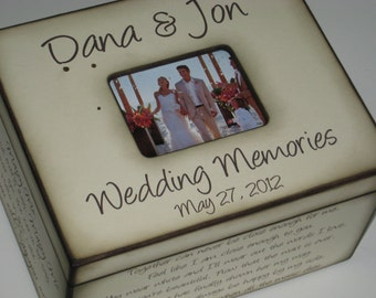 Rustic Wedding Memory Box -  Wedding Memories- Personalized for Bride and Groom with Names, Photo Frame, and First Song or Wedding Vows