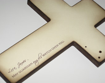 Personalized Christian Cross - Beautiful Baptism Gift for Boy or Girl
