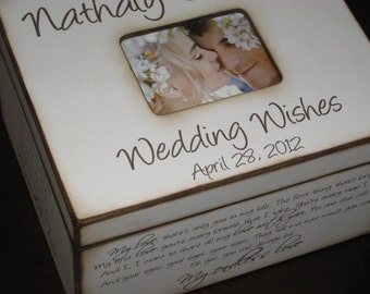 Personalized Wedding Wishes Box with Photo Display -Wedding Memories - Custom Song Lyrics or Vows- Beautiful Gift for Bridal Shower