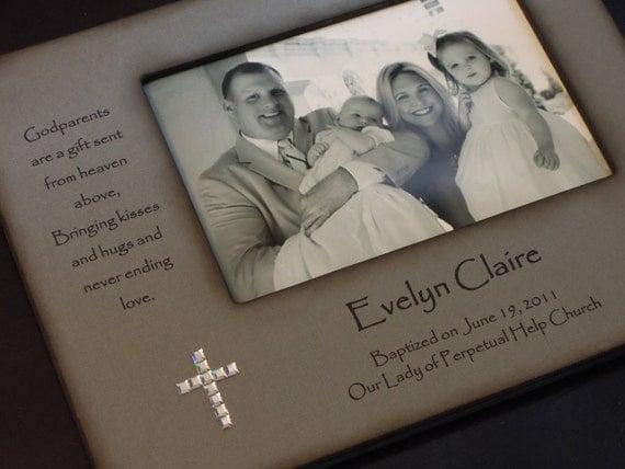 Baptism Gift For Godparents Christening Gift Godparents: Baptism Christening Photo Frame Personalized Gift For