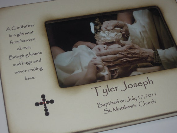 Godmother Gift Godparent Gift Personalized Gift For: Godparents Baptism Christening Photo Frame Personalized Gift