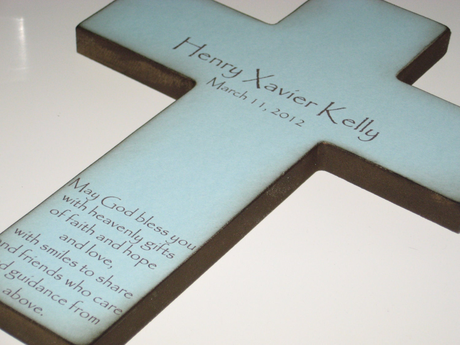 Personalized Christian Cross With Poem Beautiful Baptism Gift