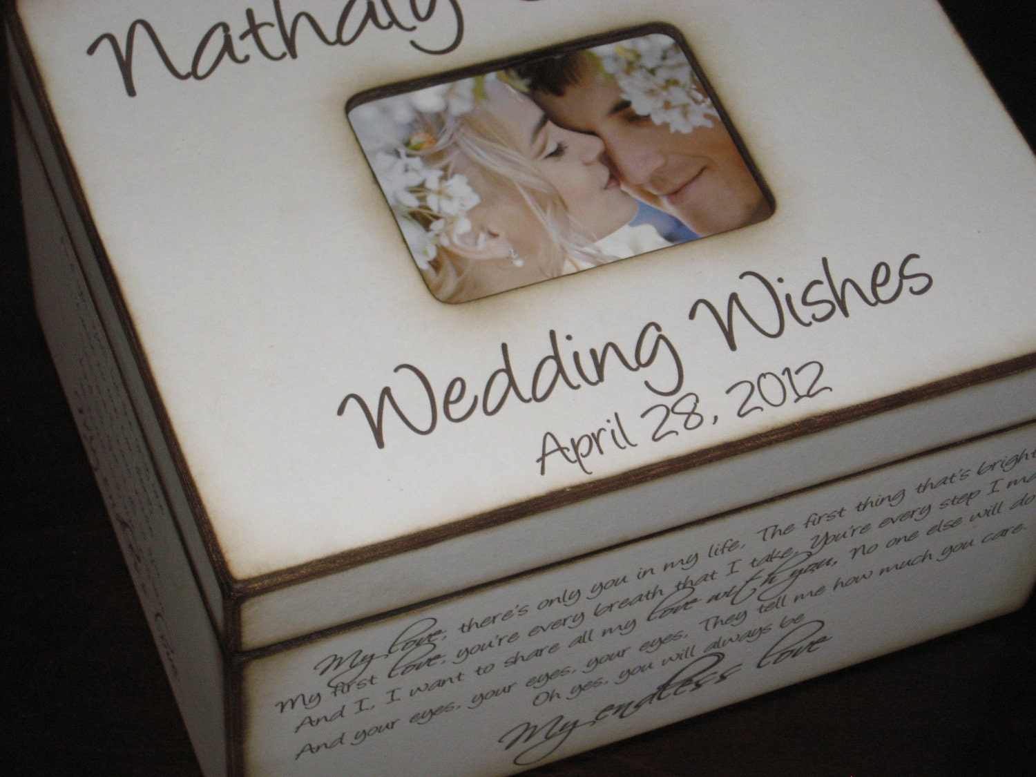 personalized wedding wishes box with photo display wedding