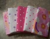 Baby Girl Pink Set of 5 Flannel Fat Quarter Bundle 2