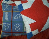 Cabin Pillow Glamping Camping Red White Blue Quilt Adirondack Scouts Blanket Camp Symbols Scouting
