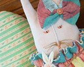 Repurposed Quilt Doll Rabbit Baby Bunny Hand Made Quilt Cottage Decor Folk Art Doll