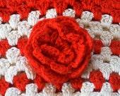 Valentines Gift Bag Basket Purse Red Rose Flower Girl Crocheted Basket Cotton Bag Gift Vintage Linen