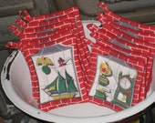 Red Pot Holder Set Hot Pads Vintage Tablecloth Eco Friendly Upcycled Textiles Thick Heavy Potholders Set Red Brick Hearth And Home