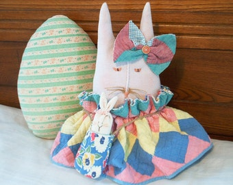 Easter Rabbit Doll Baby Bunny Hand Made Quilt Cottage Decor Folk Art Mother Doll With Baby Bunny Childs Gift For Mom