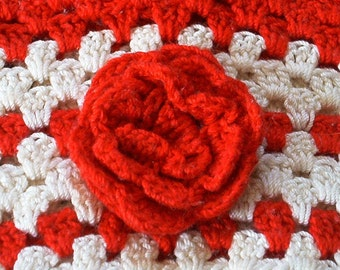 Gift Bag Basket Red Rose Purse Vintage Linen Crocheted Red White Cotton Victorian