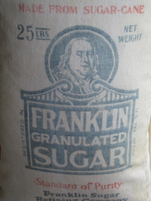 Sugar Sack Pillow Grain Bag Ben Franklin Philadelphia New England Kitchen Gift