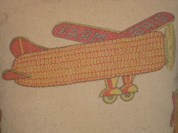 Grain Sack Pillow Feed Sack Seed Corn Airplane Iowa Bag