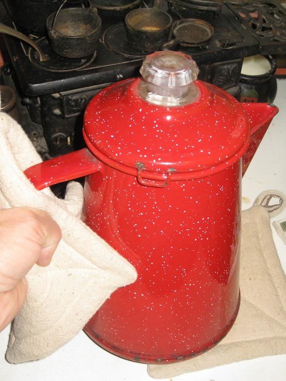 Grain Sack Pot Holders Set Earthy Eco Upcycled Feed Sack Pot Holder