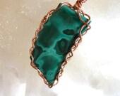 Malachite and Braided Copper Pendant