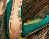 reserved for jenna--handmade turquoise flats
