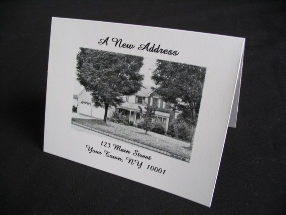 25 change of address note cards w sketch from photo With change of address note cards