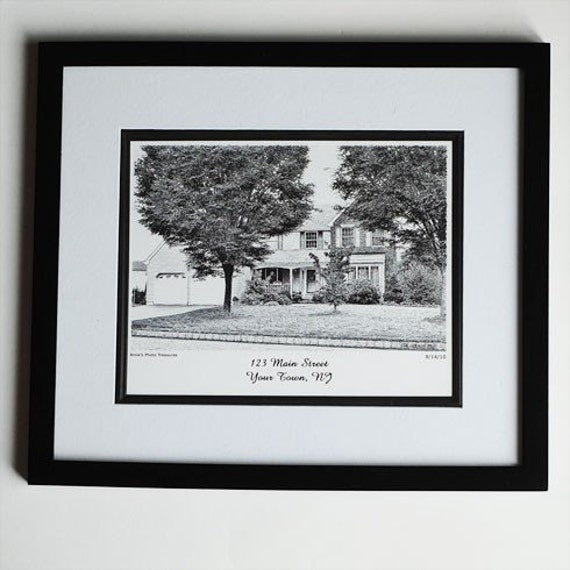 sketch from photo 8x10 in 11x14 black wood frame with mat. Black Bedroom Furniture Sets. Home Design Ideas