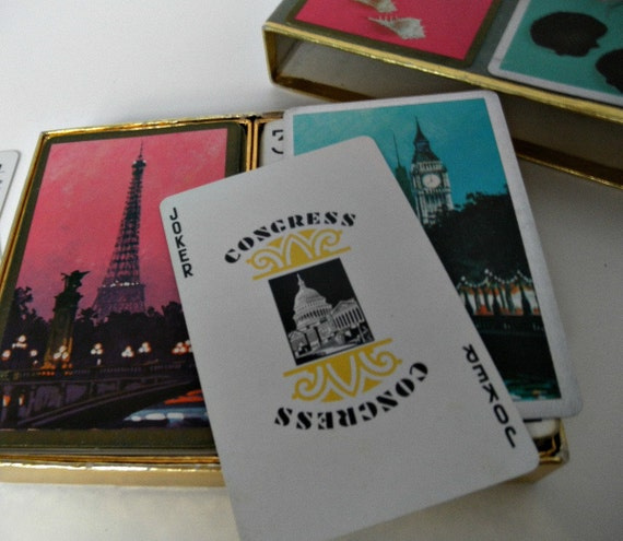 Congress Playing Cards. Two Decks Vintage Cel-U-Tone Finish Cards.  Paris Eiffel Tower Playing Cards, London Big Ben Playing Cards