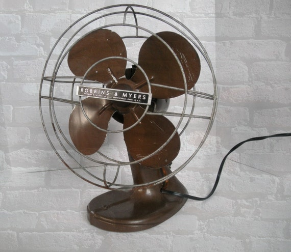 Robbins Amp Myers Fan Brown Oscillating Retro By