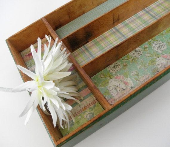 Wood Tray. Refurbished Vintage Green Divided Box
