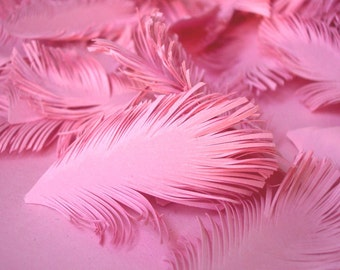 PINK Feathers - Hand cuted of paper set of 25