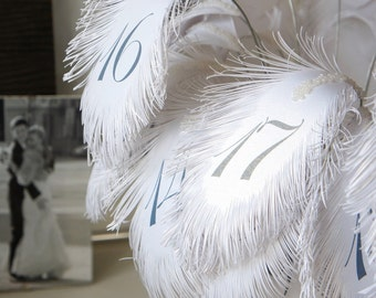 White Table Numbers in Navy Blue (text) FEATHERs for flower arrangement