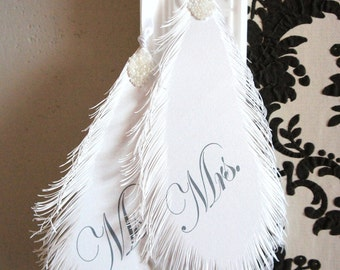 Mr & Mrs Wedding Signs FEATHER's in white