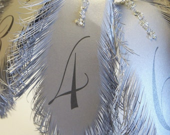 Silver feathers wedding table numbers for flower arrangement in Silver Large size