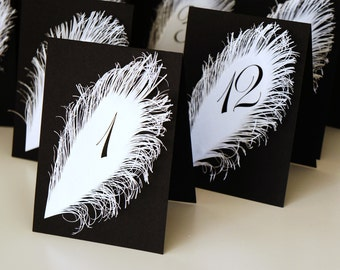 Table Markers | Table Tents | Black and White Wedding table numbers with feather Iridescent white Tent Style