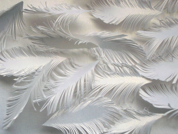 mini FEATHERS - white goldish paper - handcuted