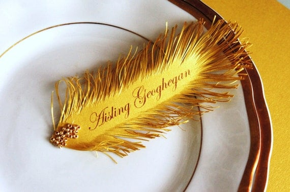 gold FEATHER Wedding place cards - HANDmade of iridescent gold paper, your guest Name Printing Included, Gold glass beads decor