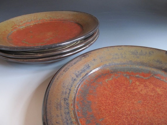 Set of Four Salad or Bread Plates - Iron Red