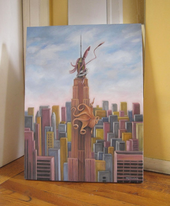Empire State Attack Oil Painting