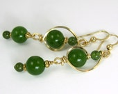 Green Jade Gold Filled Earrings, Jade Wire Wrapped Gold Stone Everyday Earrings