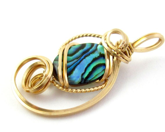 Paua Abalone Gold Pendant, 14k Gold Filled Wire Sculpture Asymetrical Gemstone Pendant Necklace, Gift for Her