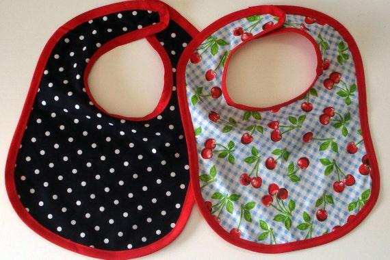 Cherry & Polka dot Rockabilly Bibs, Matching Set of two