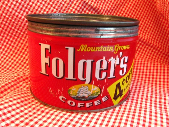 Folgers Coffee Can with Lid