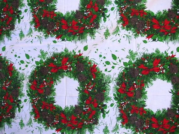 Christmas Wreaths Fabric or  Tablecloth