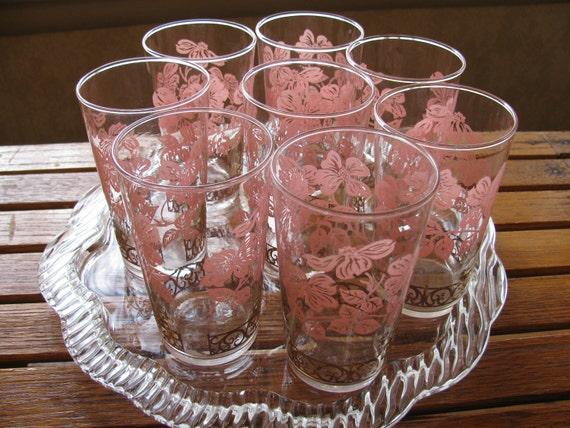 8 Pink Dogwood Federal Glasses