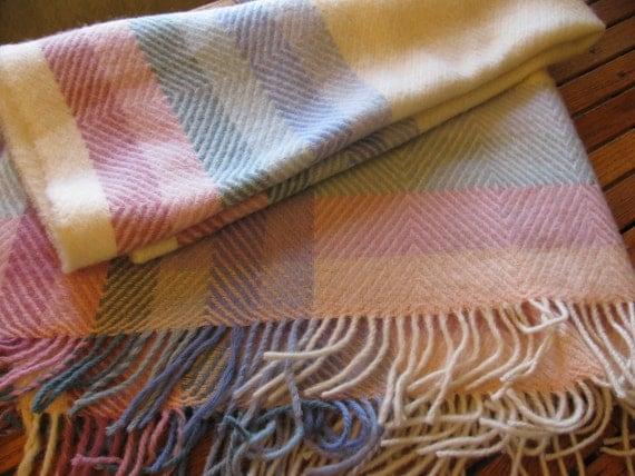 gorgeous pastel wool plaid blanket throw by gaelianna on etsy. Black Bedroom Furniture Sets. Home Design Ideas